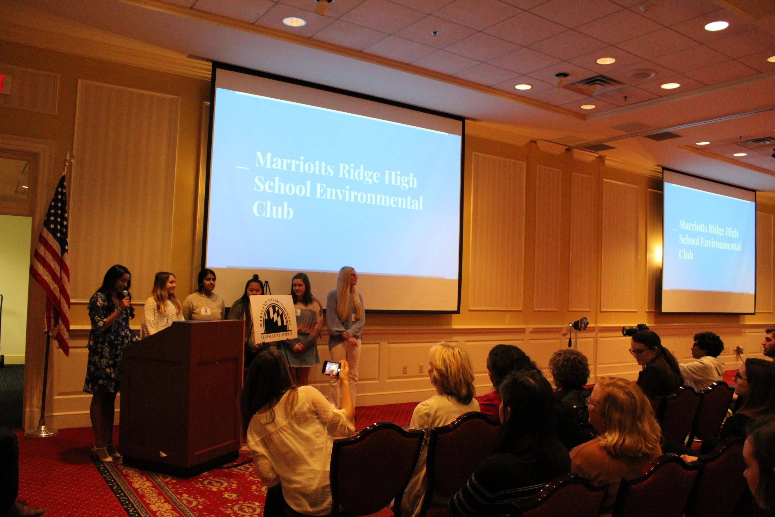 Students from Marriotts Ridge High School Environmental Club giving a presentation